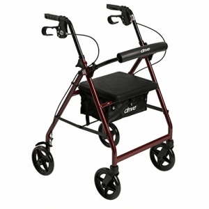Drive Medical Aluminum Rollator Fold Up and Removable Back Support, Padded Seat with 7.5-Inch Casters