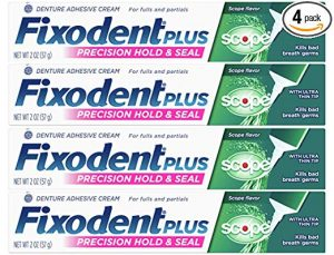 Fixodent Control Denture Adhesive Cream Plus Scope Flavor 2 oz (Pack of 4)