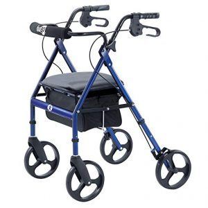 Hugo Mobility Portable Rollator Walker with Seat, Backrest and 8 Inch Wheels