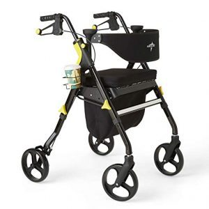 Medline Premium Empower Rollator Walker with Seat, Folding Rolling Walker with 8-inch Wheels