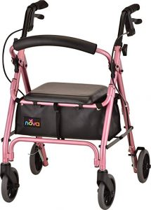 "Nova GetGo Petite Rollator Walker (Petite & Narrow Size), Rolling Walker for Height 4'10"" - 5""4"", Seat Height is 18.5"", Ultra Lightweight"