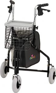 "Nova Traveler 3 Wheel Rollator Walker, All Terrain 8"" Wheels, Includes Bag, Basket and Tray"