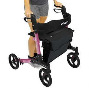 Vive Folding Rollator Walker - 4 Wheel Medical Rolling Walker with Seat & Bag - Mobility Aid for Adult, Senior, Elderly & Handicap - Aluminum Transport Chair