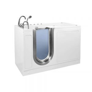 Ella's Bubbles Ella Ultimate 30x 60 Air, Hydro and Foot Massage Acrylic Walk-in Bathtub, Left Inward Swing Door, Fast Fill Faucet, 2 Dual Drain 30x 60 White