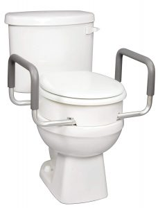 Carex 3.5 Inch Raised Toilet Seat With Arms, For Round Toilets