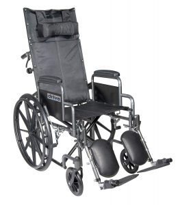 Drive Medical SSP20RBDDA Silver Sport Reclining Wheelchair with Detachable Desk Length Arms and Elevating Leg Rest