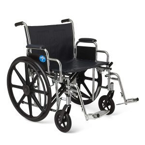"Medline Excel Extra Wide Wheelchair, 24"" Wide Desk Length Removable Arms, Swing Away Footrests"