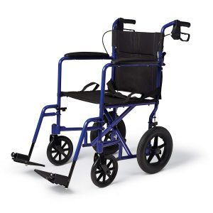 Medline MDS80821ABE Aluminium Transport Chair with 12 Wheels