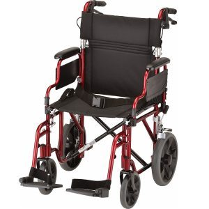 Nova Lightweight Transport Chair with Locking Hand Brakes, 12 Rear Wheels, Removable and Flip-Up Arms, Anti-Tippers Included