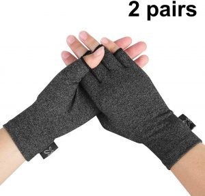 Compression Gloves, 2 Pairs Open Finger Hand Arthritis Gloves, Fingerless Design To Relieve Pain From Rheumatoid And Osteoarthritis